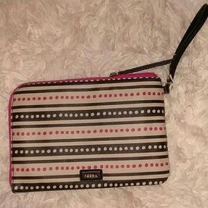 NWT FOSSIL Wristlet Pink/Black/White Polka Dot Zip